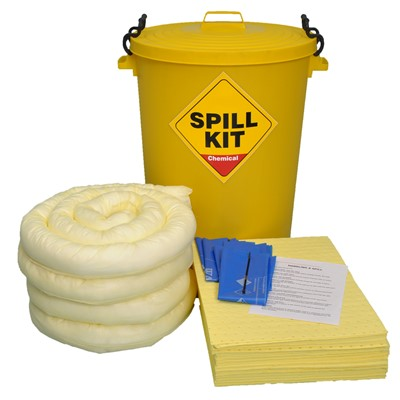 90 Litre Spill Kit Chemical Yellow Drum, note not for use on oxidisers