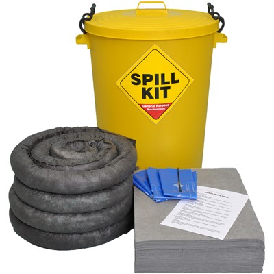 90 Litre Spill Kit General Purpose Yellow Drum
